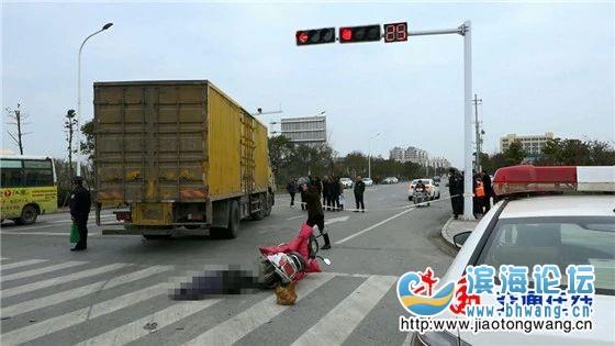 又是大货车惹的祸!盐城一骑电瓶车男子当场死亡!