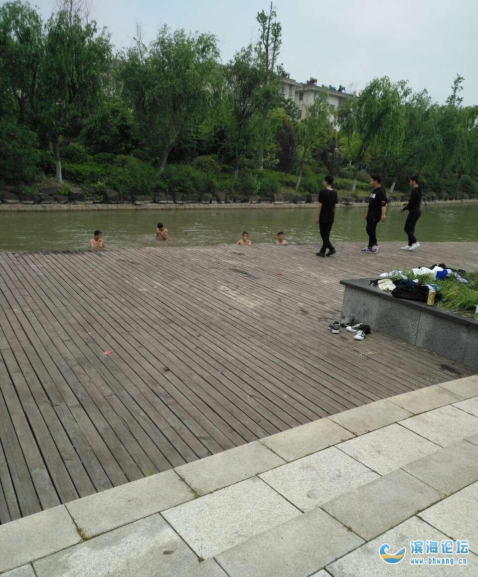 西湖公园学生游泳