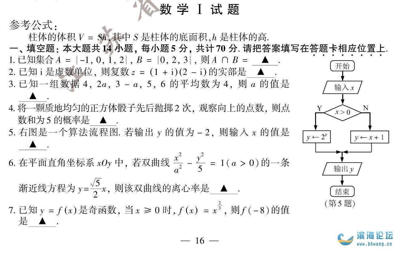 2020年江蘇高考數學試題+參考答案
